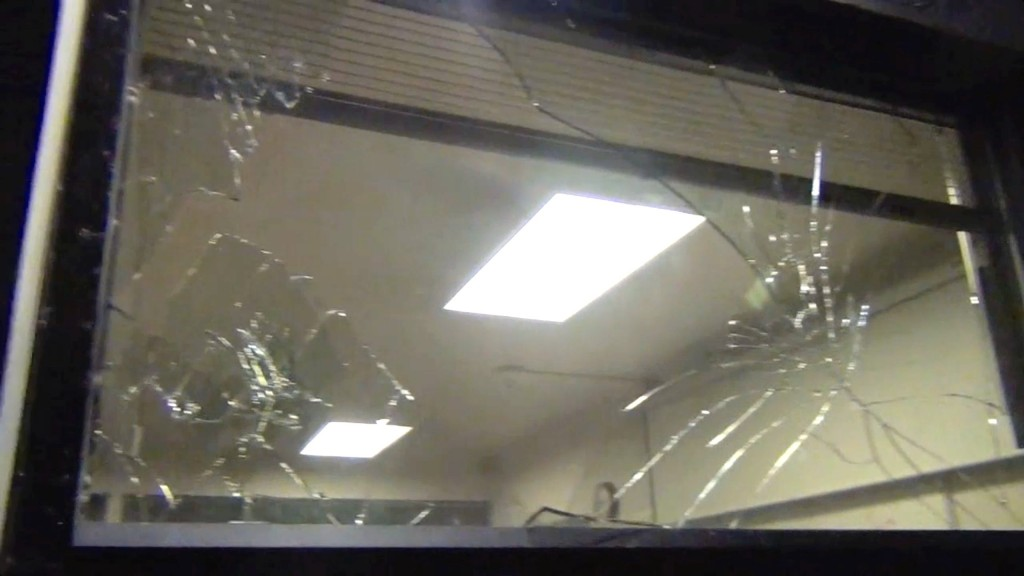 Windows were broken at the Multnomah County Probation Office ruing the Night of Mahem