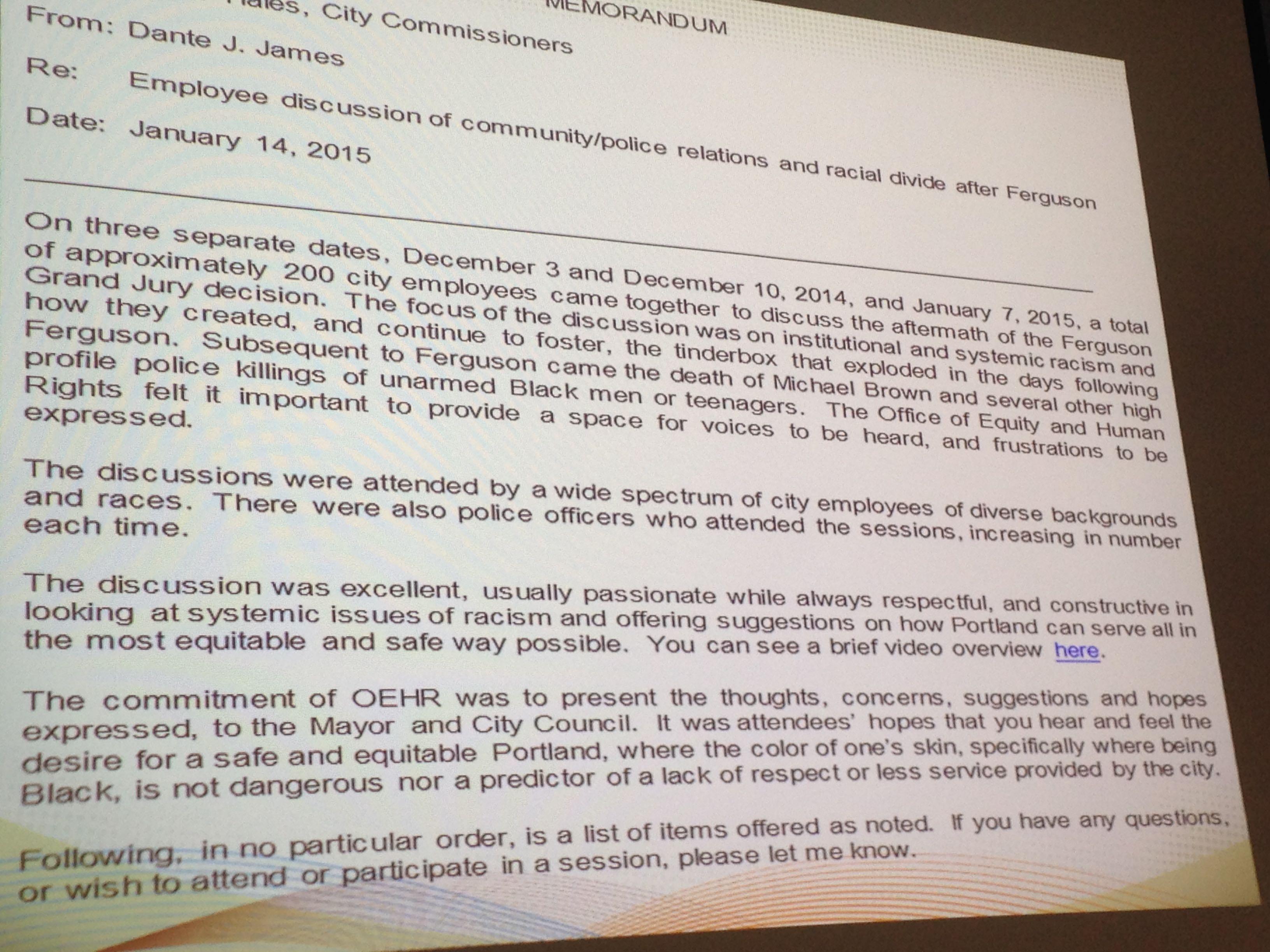 Portland Ferguson Report Slide 1