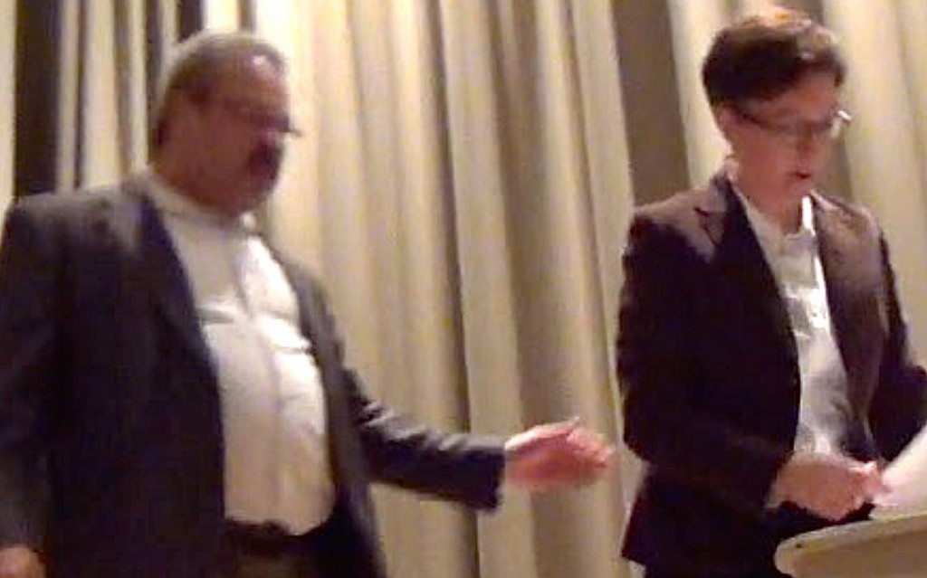 Close Thumb Lew Fredrick Slaps Tina Kotek at Town Hall