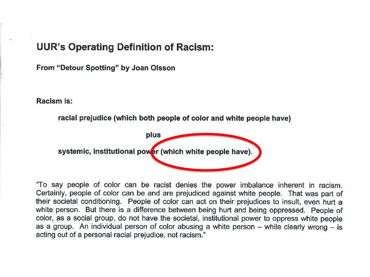 "Racism is something ""which white people have"""